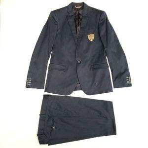 Dolce & Gabbana Silk Wool Pinstriped Suit - Blue